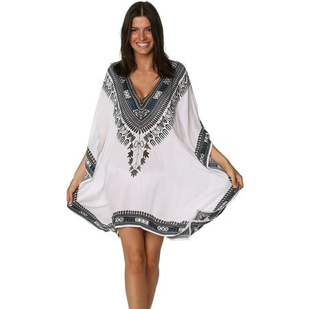 Fashion Cover Up Summer Hawaiian Poncho Print Tunic Hem Tops Beachwear