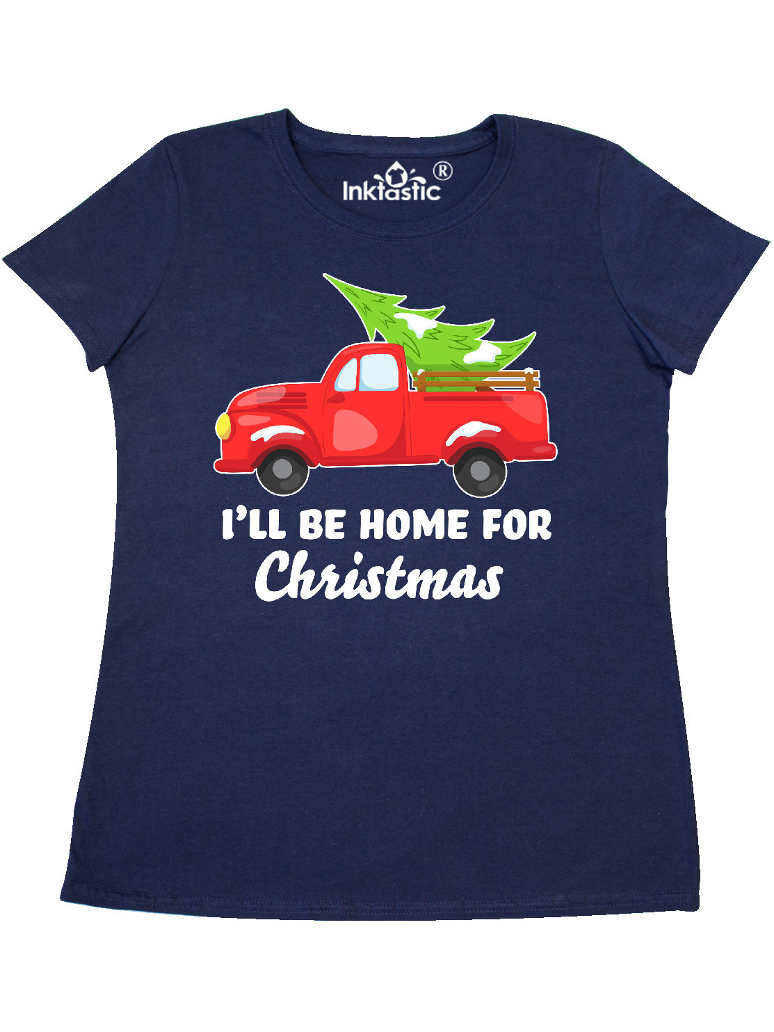 inktastic Ill Be Home for Christmas Truck with Tree Baby T-Shirt
