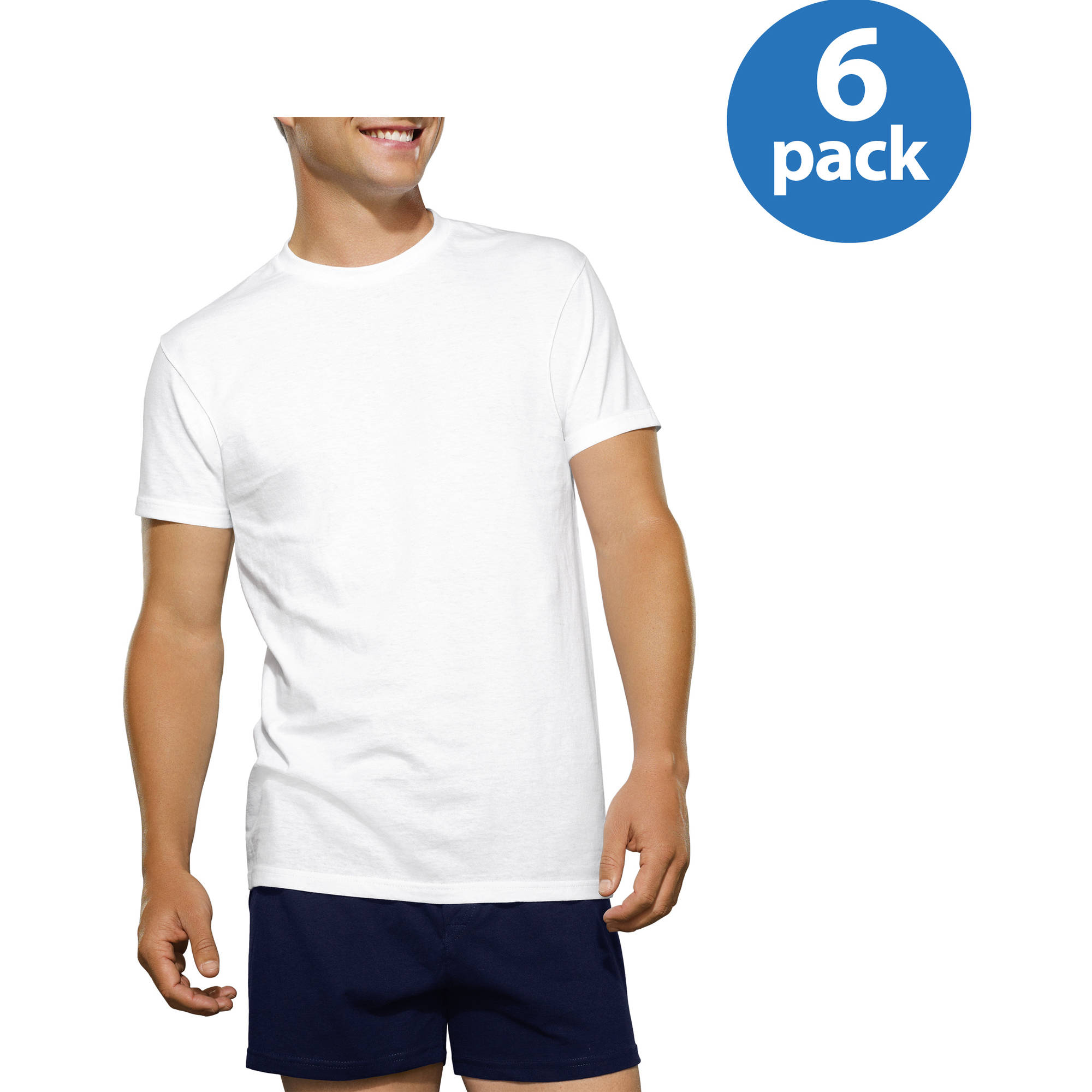New Reinvented Tee! Fruit of the Loom Men's White Crews, 6-Pack