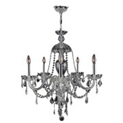 "Provence Collection 7 Light Chrome Finish and Clear Crystal Chandelier 26"" D x 28"" H Large"