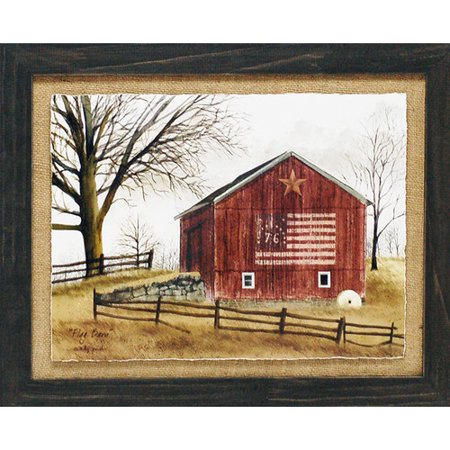 Artistic Reflections 'Flag Barn Primitive Country Farm Landscape' by Billy Jacobs Framed Graphic Art