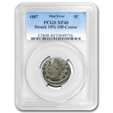 1887 Liberty Head V Nickel Xf 40 Pcgs  Struck 15  Off Center