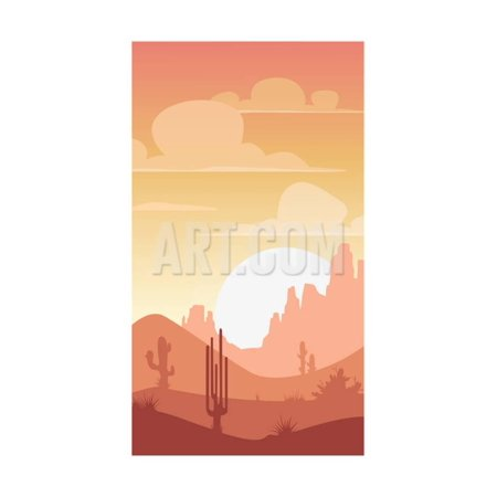 Cartoon Desert Landscape, Sunset Silhouette Illustration, Vertical Format for Mobile Phone Screen Print Wall Art By Lilu330