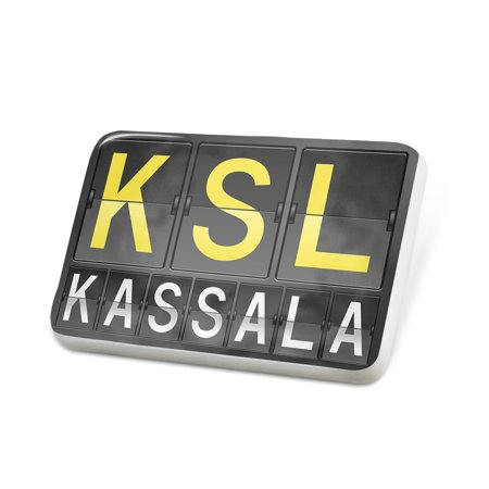 Porcelein Pin Ksl Airport Code For Kassala Lapel Badge   Neonblond