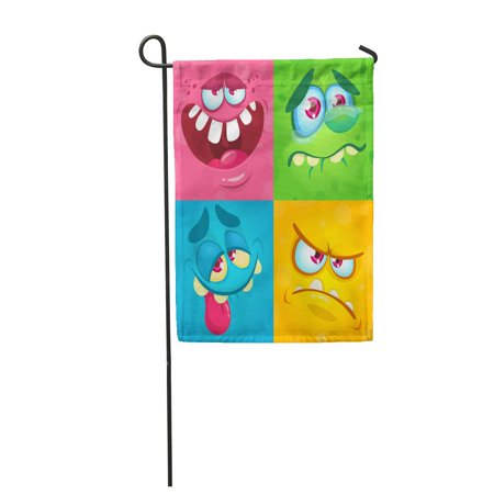 LADDKE Cartoon Monster Faces of Four Halloween Avatars Mask Garden Flag Decorative Flag House Banner 12x18 inch (Halloween Faces Cartoon)