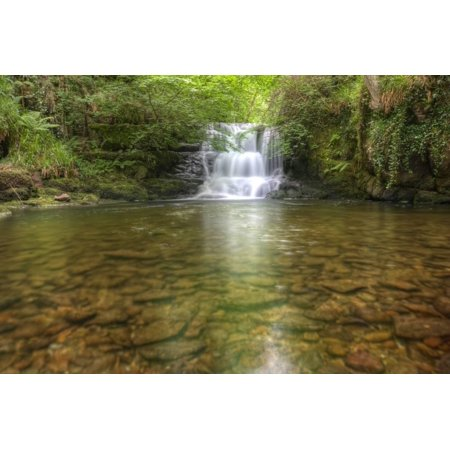 Stunning Waterfall Flowing over Rocks through Lush Green Forest with Long Exposure Print Wall Art By Veneratio