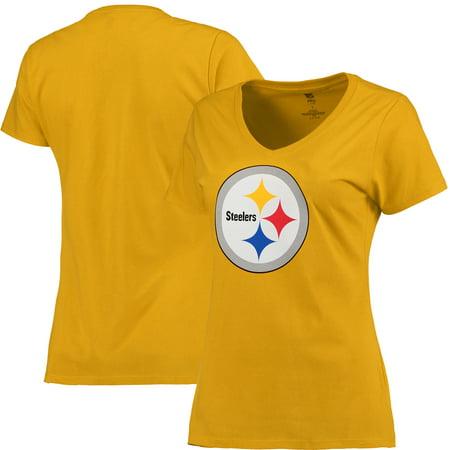 Pittsburgh Steelers NFL Pro Line Women's Primary Logo V-Neck T-Shirt - - Pittsburgh Steelers Logo Heart Pendant
