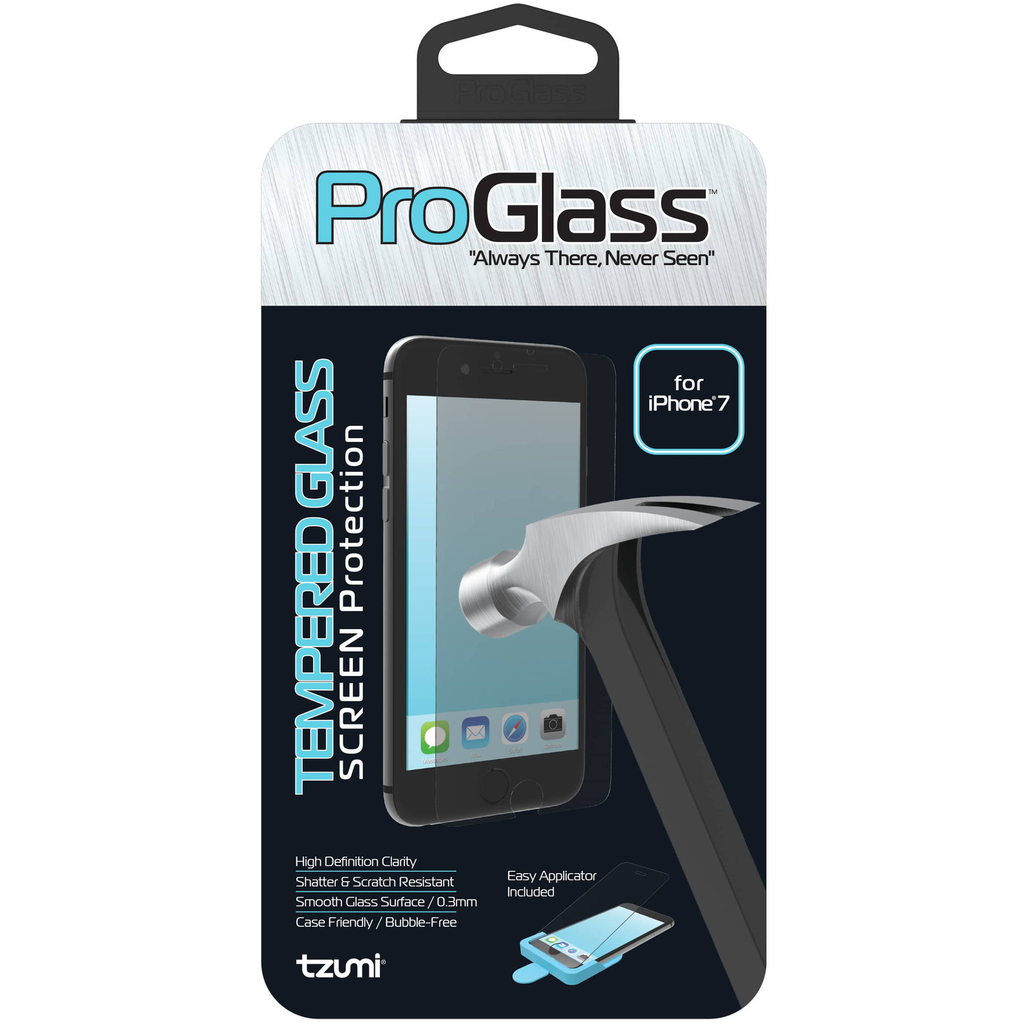 Tzumi ProGlass for iPhone 7 - Premium Tempered Glass Screen Protector with Easy Application and Cleaning Kit