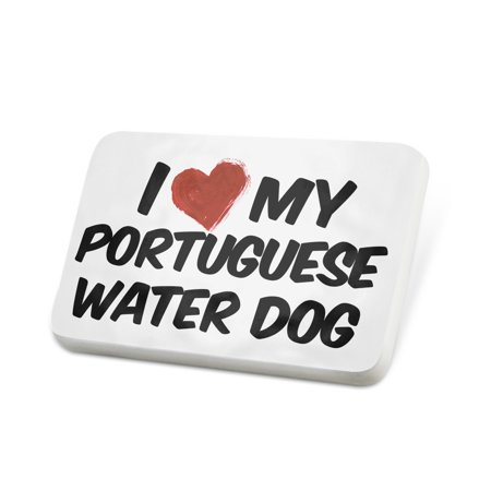 Porcelein Pin I Love my Portuguese Water Dog from Portugal Lapel Badge – NEONBLOND