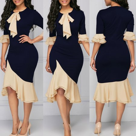 2018 The New Hot Fashion Women Lace Tie Up Bodycon Cocktail Evening Party Midi Dress (Around The World Dress Up)