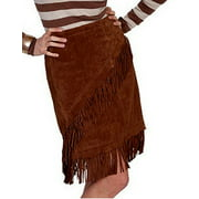 L708-81-XS Womens Leather Skirt - Cinnamon Boar Suede, Extra Small