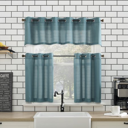 Mainstays Solid Grommet 3-Piece Kitchen Curtain Tier and Valance Set ()