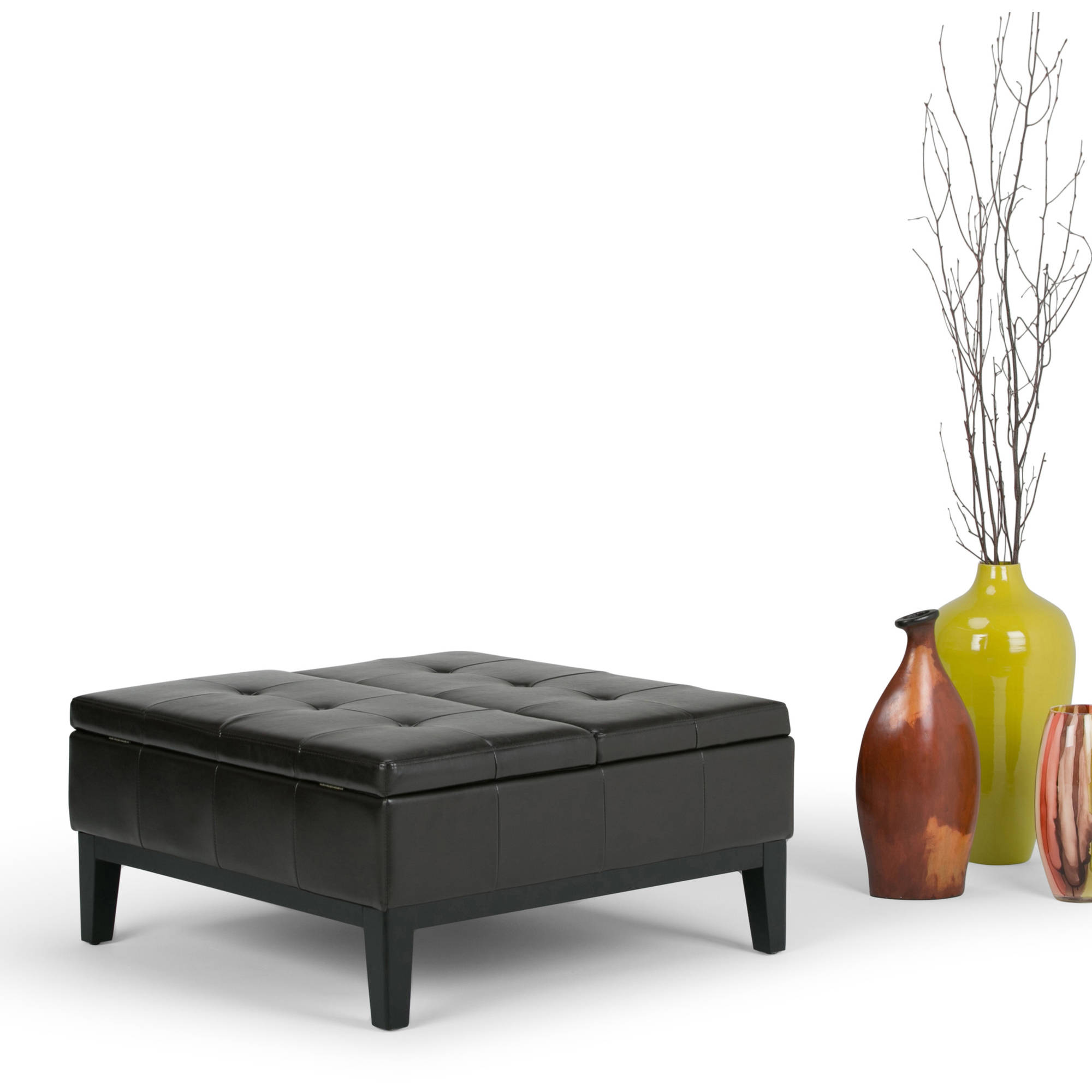 simpli home dover square coffee table ottoman with split lift up