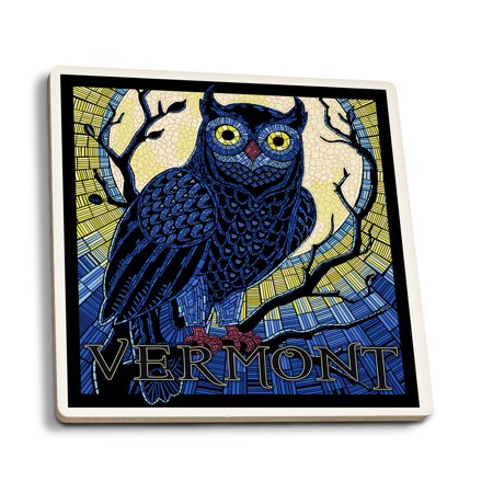Vermont - Owl Mosaic - Lantern Press Artwork (Set of 4 Ceramic Coasters - Cork-backed, Absorbent)