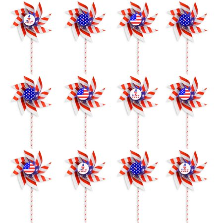 VHALE 12pcs DIY Patriotic Paper Windmill Party Pinwheels Spinner (American Flag, 4th of July, Independence Day, Memorial Day, Veteran Day), Creative Arts and Crafts, Garden Lawn Decor Toys for - Paper Pinwheel