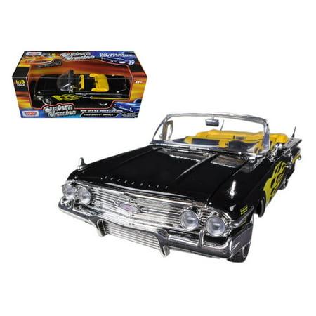 1960 Chevrolet Impala Black With Flames Custom 1/18 Diecast Model Car by