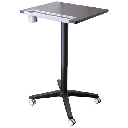 "MotionWise Pneumatic Height Adjustable Standing Desk, 21""x25""x30.5""-45.5"", Jet Black"