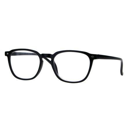 Womens Keyhole Rectangular Horn Rim Thin Reading Glasses Black (Thin Wire Rim Glasses)