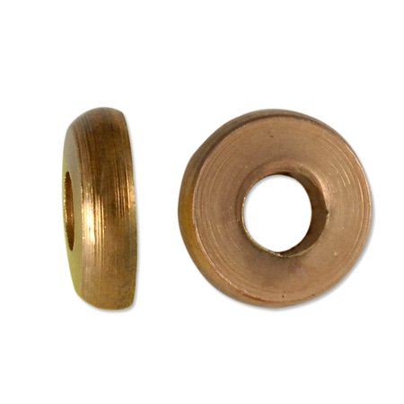 Bright Copper Bead - Flat Washer Bead 9x2.5mm Bright Copper Finish (Package of 5 Beads)