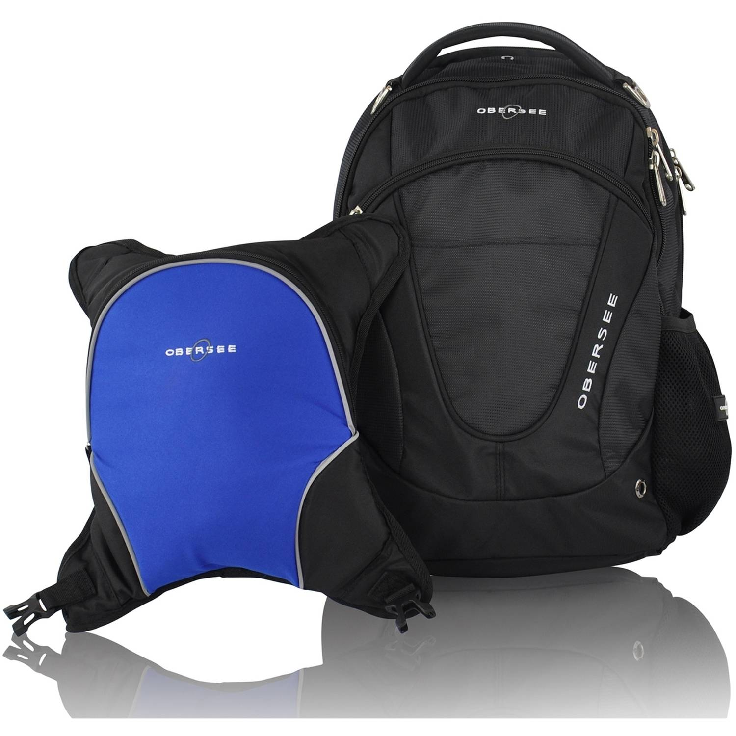 Obersee Oslo Diaper Bag Backpack and Cooler, Black Royal Blue by Obersee