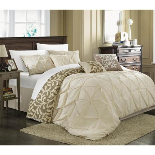 Chic Home Trefort Pinch Pleat Oversized Overfilled 11-piece Bed in a Bag with Sheet Set Beige-Queen