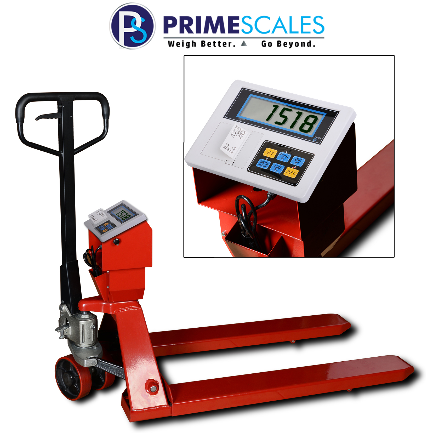 Prime Scales PS-5000PJP Pallet Truck / Pallet Jack Scale with PS-IN105P Label Printing Indicator Specially Designed for standard US Pallets