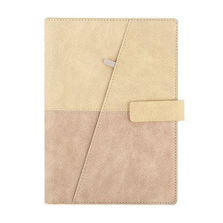 cyos refillable planner leather journal inserts a5 6-ring binder loose leaf  notebook lined cards pockets magnetic buckle (tan & pink)