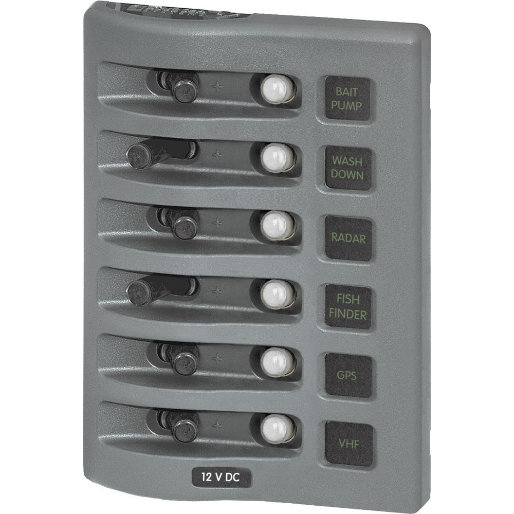 Blue Sea Systems WeatherDeck 12V DC Waterproof Circuit Breaker Panel, Grey, 6-Positions