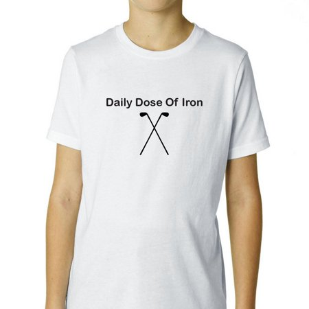 Daily Dose of Iron - Golf Keeps Me Healthy - Golfing Boy's Cotton Youth