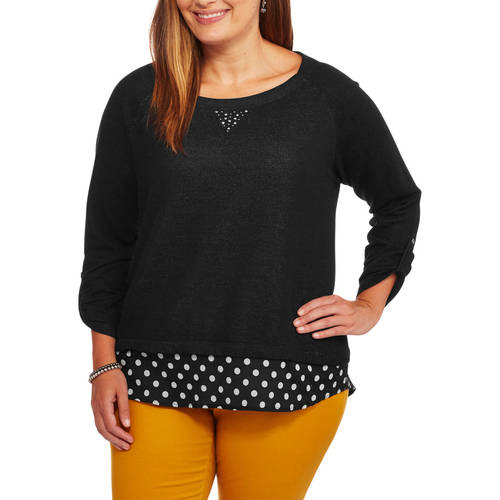 French Laundry Women's Plus Embellished 3/4 Sleeve Top with Woven Printed Hem