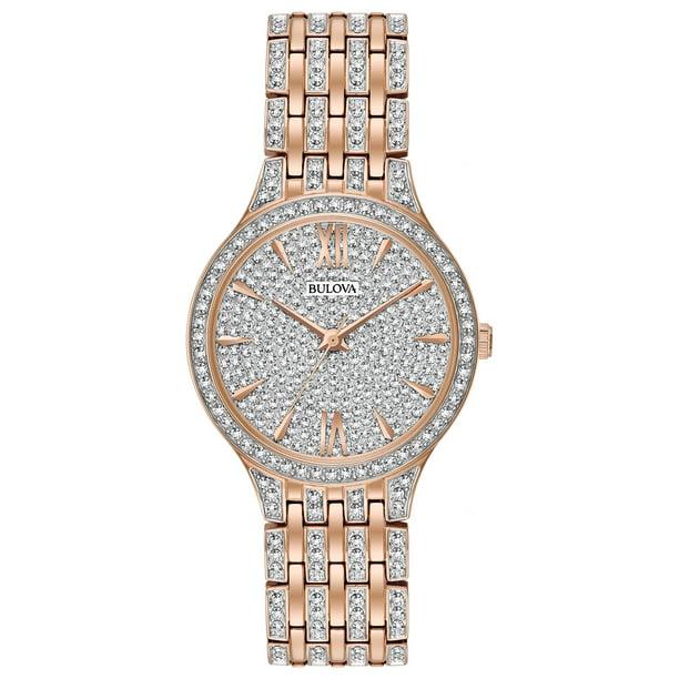 Bulova Women's Swarovski Crystal Watch - Rose Gold-Tone - Bracelet - Pave  Dial