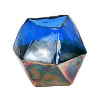 "5"" Blue Petrol Geometric Glass Vase"