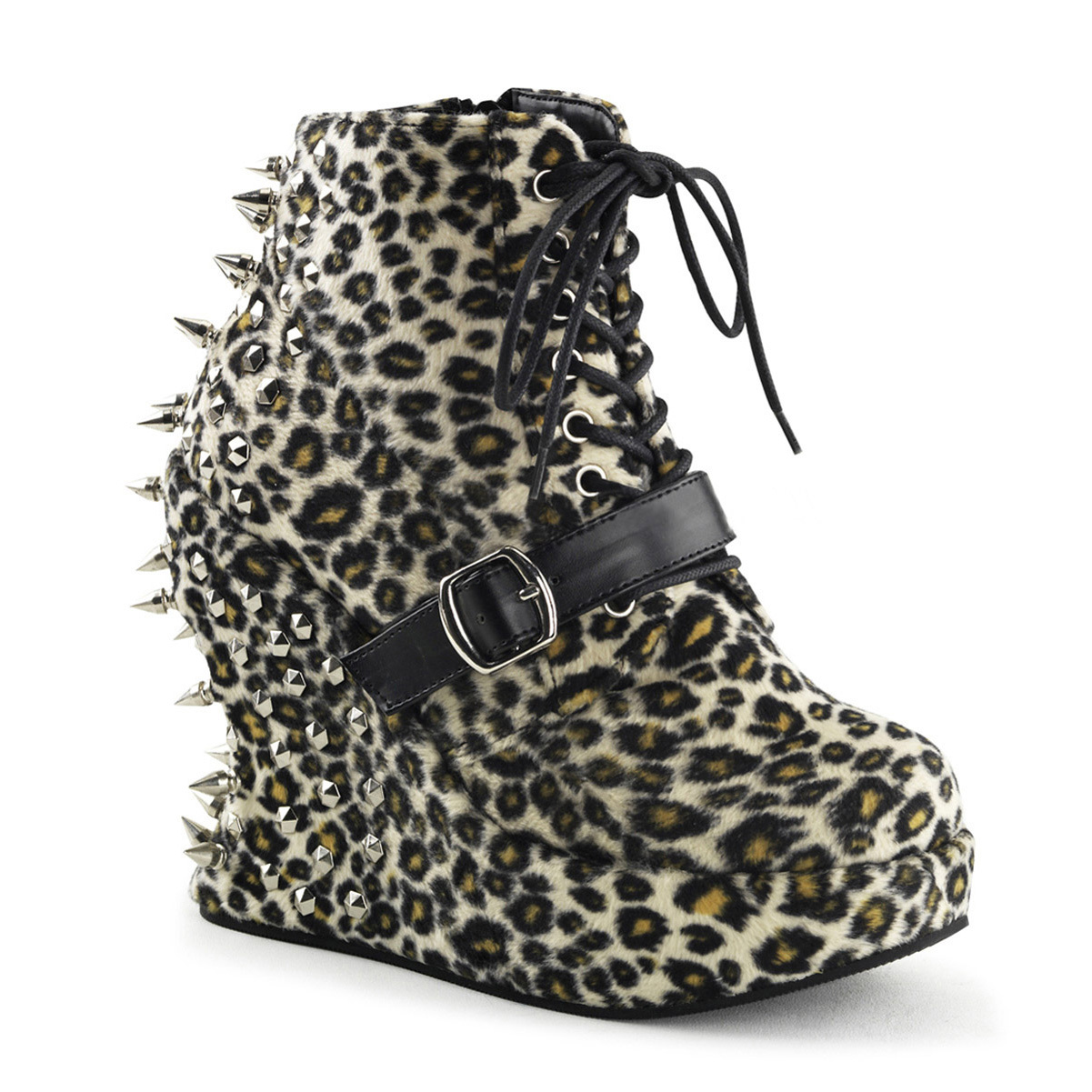 Womens Furry Leopard Print Studded Ankle Boots 5'' Wedge Heels and Spike Detail