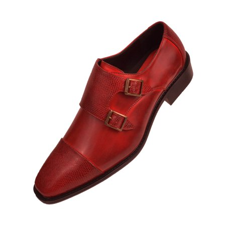 Bolano Mens Smooth Leather Double Monk Strap Dress Shoe with Embossed Strap and Cap Toe Available in Cognac, Black, Red, Navy, & (Dark Navy Kids Shoes)