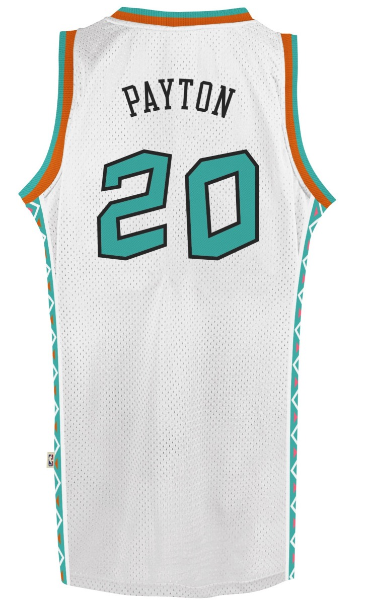 info for df2d9 72fe7 White Gary Payton Adidas NBA Throwback 1995 All-Star West ...