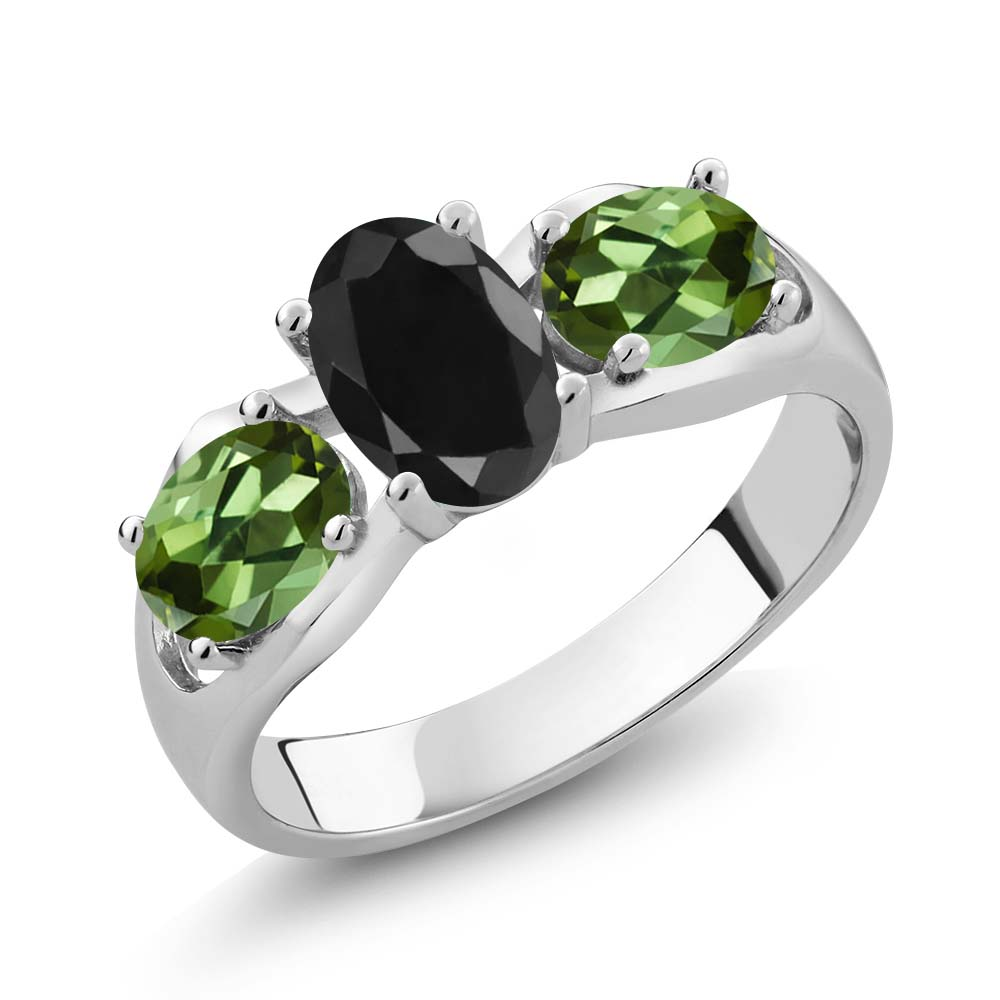 2.07 Ct Oval Black Sapphire Green Tourmaline 14K White Gold Ring by