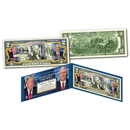 Donald Trump   Mike Pence Pres   Vp   Official Photos   Legal Tender Us  2 Bill