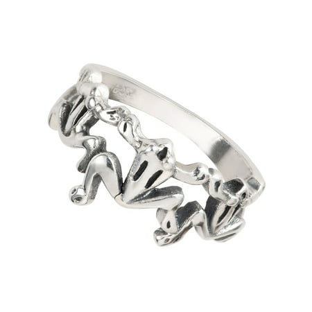 Three Little Frogs Ring Sterling Silver Size 12