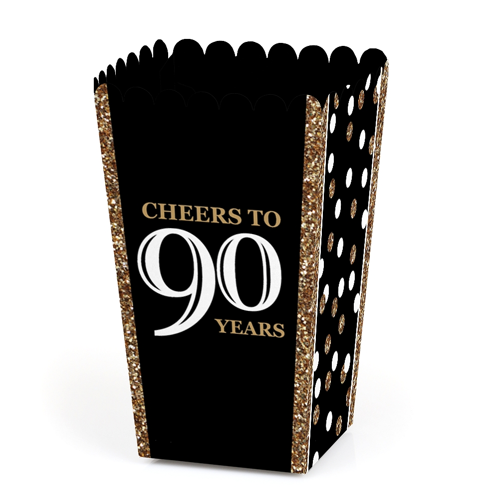 Adult 90th Birthday - Gold - Birthday Party Favor Popcorn Treat Boxes - Set of 12