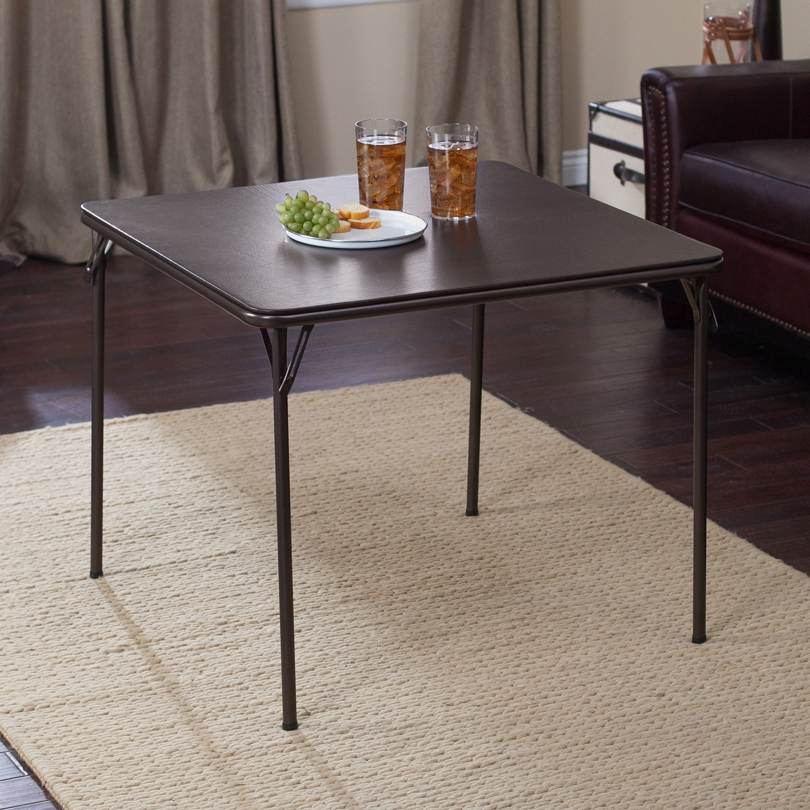 "Deep Brown Vinyl and steel 34"" x 34"" Square folding table -1pk"