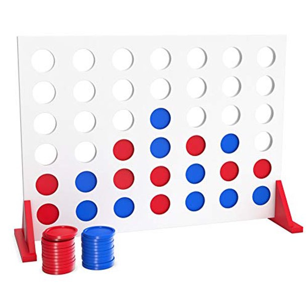 Bundaloo Wood 4 in a Row Game - Giant Connect 4 Wooden Activity Board for Parties, Playground and Camping - Indoor and Outdoor Playset for Kids and Adults - Best Table or Yard Games Gift for Families
