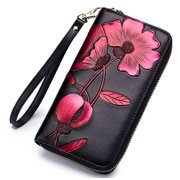 Women's RFID Blocking Genuine Leather Floral Print Large Capacity Zipper Clutch Wallet