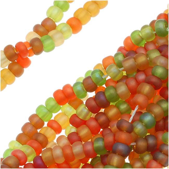 Czech Seed Beads Mix 11O Fall Harvest Green Orange Red (1 Hank/4000 Beads)