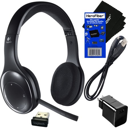 Logitech H800 Bluetooth Fold-and-Go Wireless Stereo Headset + Receiver +  USB Cable with Wall Adapter Charger + HeroFiber Ultra Gentle Cleaning Cloth