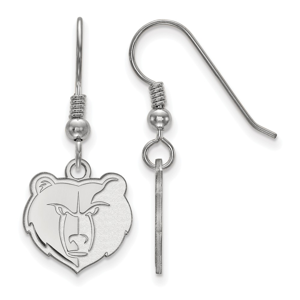 Solid 925 Sterling Silver NBA Memphis Grizzlies Small Dangle Earrings (13mm x 31mm)