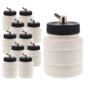 10 Plastic 2.7oz 80cc Single-Action Airbrush Bottles Jar Lid Adapter Siphon Feed