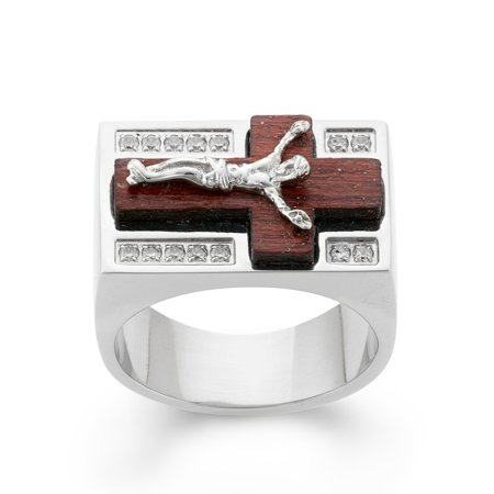 Stainless Steel White Cubic Zirconia Wood Crucifix Cross Men's Ring Size 12