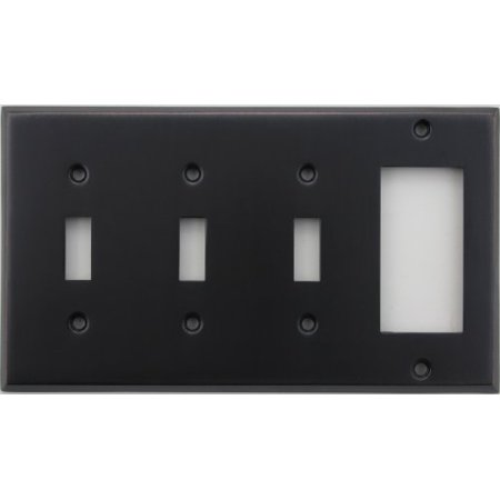 Classic Accents Stamped Steel Oil Rubbed Bronze Four Gang Wall Plate - Three Toggle Light Switch Opening One GFI/Rocker Opening Classic Bronze Mini Wall