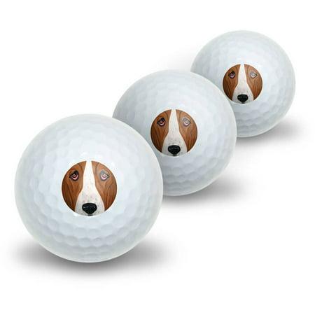 Basset Hound Face Dog Pet Novelty Golf Balls, 3pk