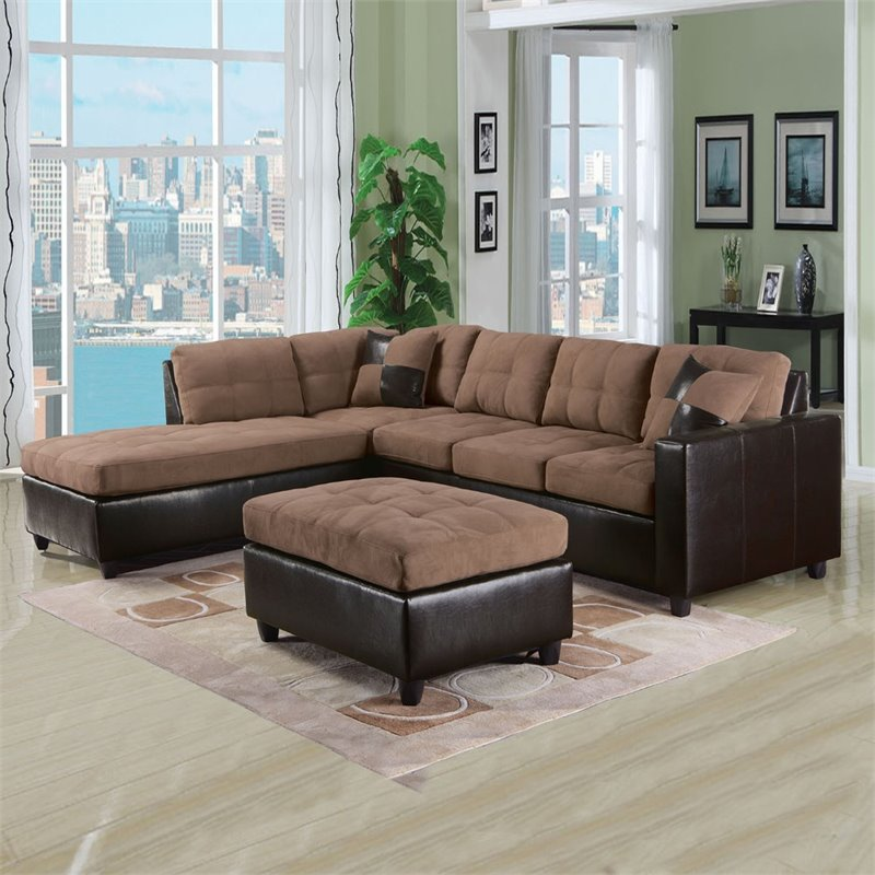 ACME Milano Reversible Sectional Sofa in Saddle
